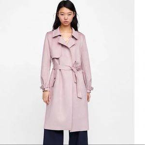 NWT Zara suede coat in pink